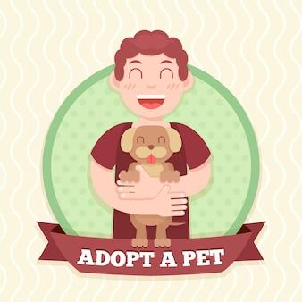 Homme tenant le concept de chien adopté