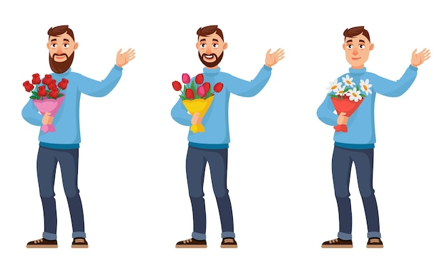 Homme tenant différents bouquets de fleurs
