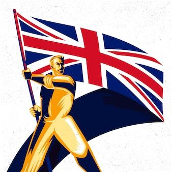 Homme tenant un drapeau du royaume-uni avec fierté vector illustration