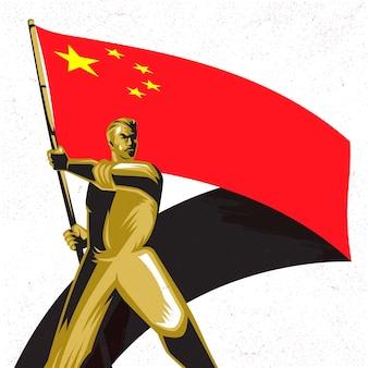 Homme tenant le drapeau de la république de chine avec fierté vector illustration