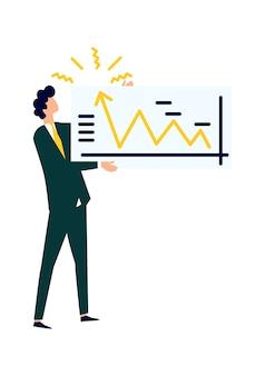 Homme tenant une grande affiche avec un graphique de croissance