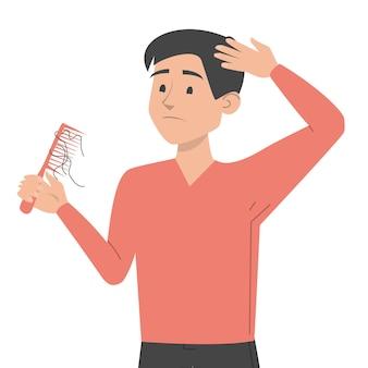 Homme tenant illustration de conception de peigne