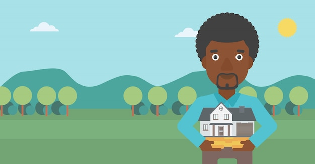 Homme tenant illustration vectorielle de maison modèle.