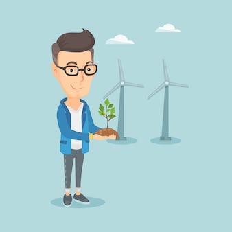 Homme tenant illustration vectorielle petite plante.