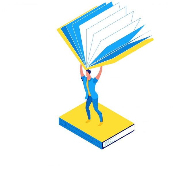 Homme tenant un livre, concept isométrique de la bibliothèque
