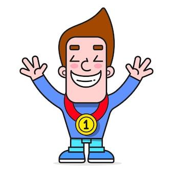 Homme tenant une médaille de gagnants. personnage de champion