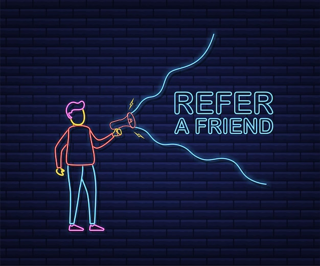 Homme tenant un mégaphone, parrainez un ami. style néon. illustration vectorielle de stock.