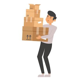 Homme Tenant Une Pile De Boîtes. Vecteur Premium