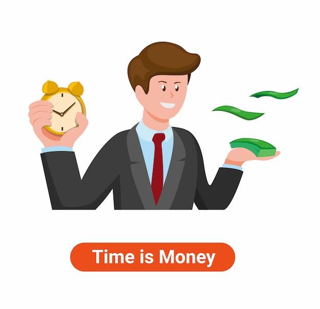 Homme tenant réveil et argent illustration du temps est de l'argent en dessin animé plat