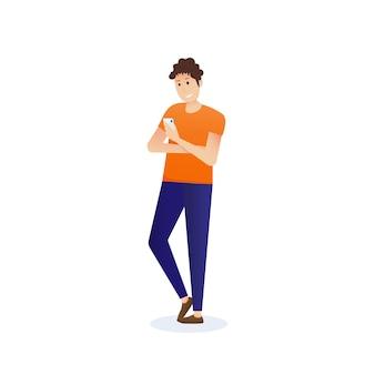 Homme tenant un smartphone et bavardant des messages. communication dans le réseau. illustration vectorielle en style cartoon