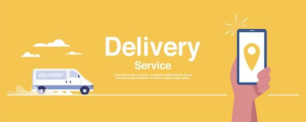 Homme tenant un smartphone avec icône de localisation de camion de transport logistique sur fond jaune. illustration vectorielle