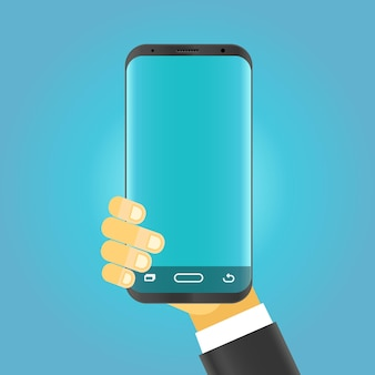 Homme tenant un smartphone moderne