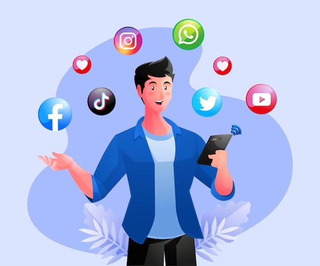 Homme tenant un smartphone et utilisant les médias sociaux