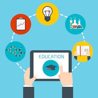 Homme tenant une tablette. concept d'éducation en ligne