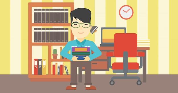 Homme tenant des tas de livres vector illustration.