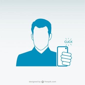 Homme tenant téléphone intelligent selfie