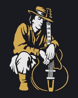 Homme, tenue, guitare, illustration