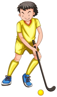 Homme en tenue jaune jouant au hockey