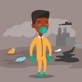 Homme en tenue de radioprotection.