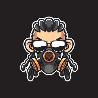 Homme avec tête de masque à gaz