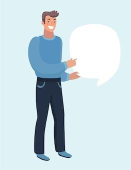 L'homme tient une bulle de dialogue vide
