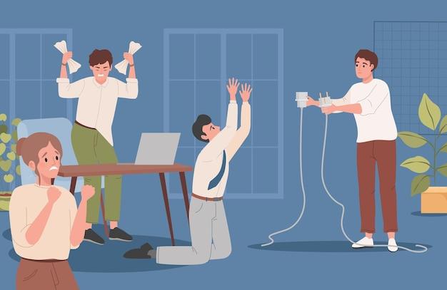 L'homme tient les employés de bureau d'illustration plate de câble débranché ont souligné