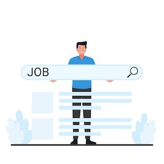 L'homme tient la métaphore de la barre de recherche de la recherche d'emploi.