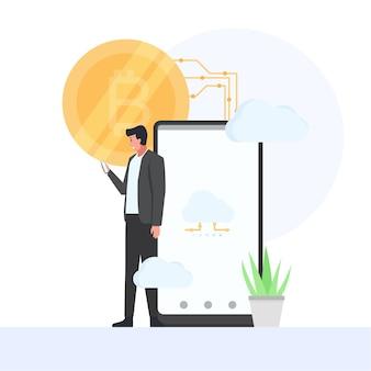 Un homme tient un téléphone et un bitcoin derrière la métaphore du cloud mining