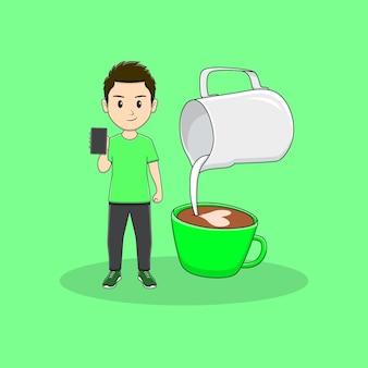 L'homme tient un téléphone avec un design d'art latte