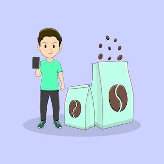 L'homme tient un téléphone avec un paquet de conception de café