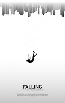 Homme tombant du ciel à la grande ville. concept de se sentir seul et d'échouer dans une grande ville