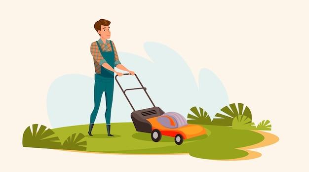 L'homme tond l'illustration de la pelouse