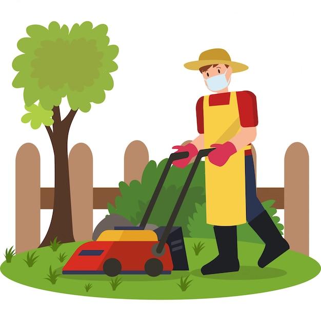 Un homme tondre son jardin illustration