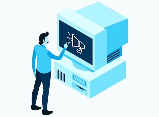 Un homme touchant l'écran de l'ancienne version vintage de l'ordinateur de bureau