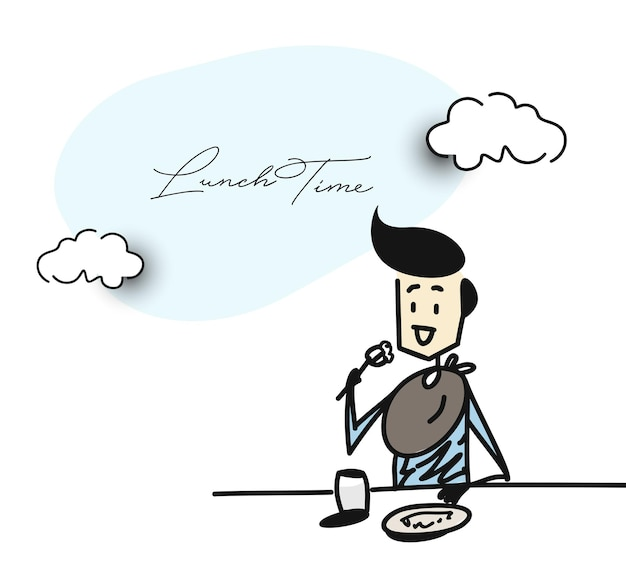 Homme en train de dîner dans un restaurant - office, cartoon hand drawn sketch vector illustration.