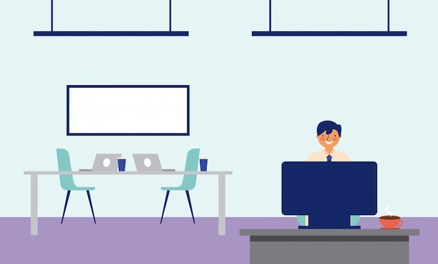 Homme travaillant dans le bureau avec un bureau et une planche