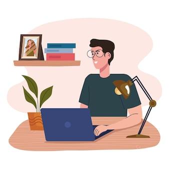 Homme travaillant dans le caractère du lieu de travail