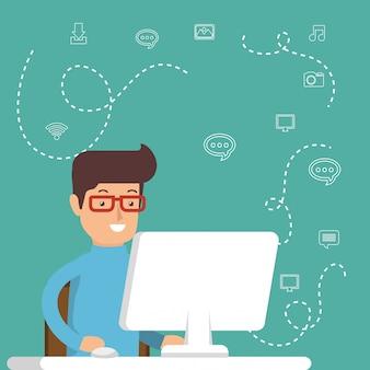Homme travaillant avec des icônes de médias sociaux