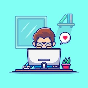 Homme travaillant sur l'illustration de vecteur de dessin animé d'ordinateur. concept de technologie de personnes vecteur isolé. style de bande dessinée plat