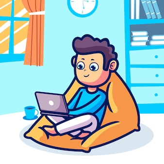 Un homme travaillant à la maison illustration de dessin animé