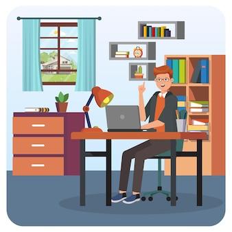 Homme travaillant à la maison illustration intérieure