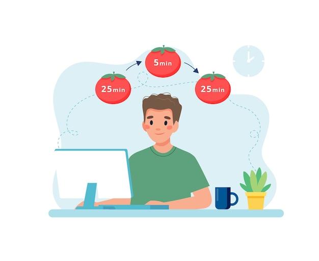 Homme travaillant avec ordinateur à l'aide de la gestion du temps