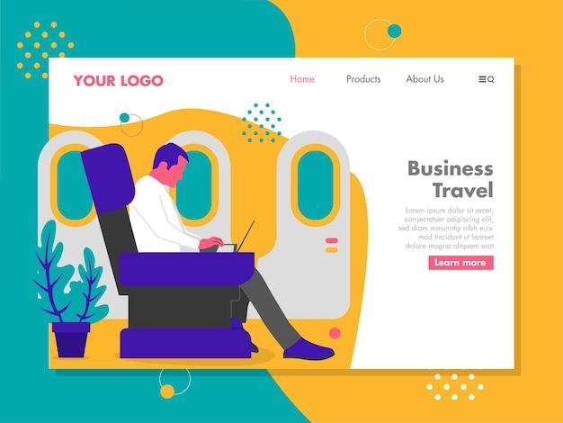 Homme travaillant sur l'ordinateur portable en voyageant dans un avion