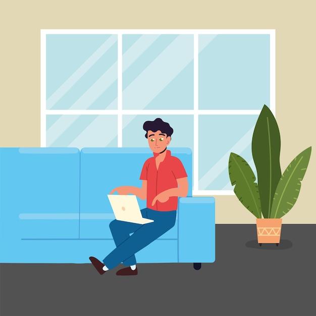 Homme travaillant avec un ordinateur portable