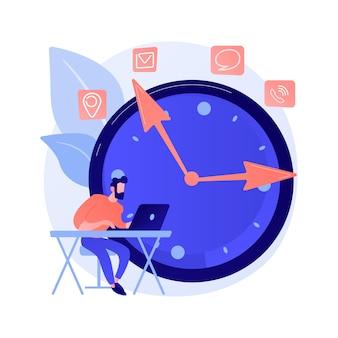 Homme travaillant avec le personnage de dessin animé d'ordinateur portable. freelance utilisant un ordinateur. entreprise indépendante, travail à distance, travail à distance. gestion du temps. bureau à domicile.