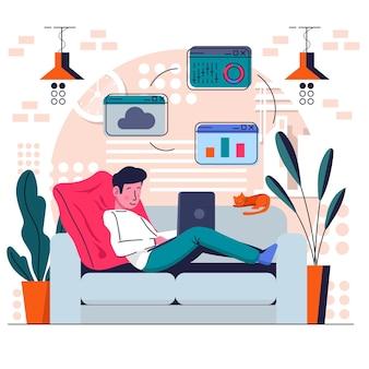 L'homme travaille à domicile sur le canapé à l'ordinateur portable avec chat et plantes
