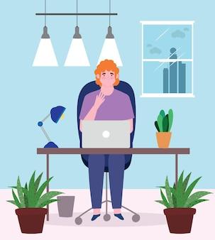 L'homme travaille à l'intérieur de son bureau d'ordinateur portable, illustration de personnes travaillant