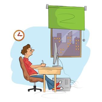 L'homme travaille sur l'ordinateur. illustration de croquis dessinés à la main.