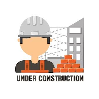 Homme travailleur sous le concept de construction
