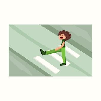 Un homme traverse la route. illustration vectorielle dans un style plat